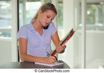 multitasking, ocupado, recepcionista