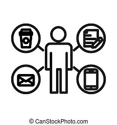 multitasking, probleem, ontwerp, illustratie