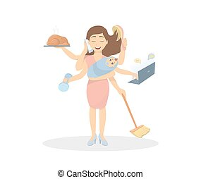 multitasking, sechs, hands., mutter