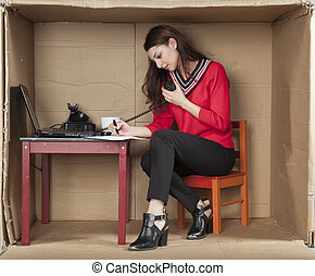 multitasking secretary in the office