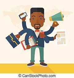 multitasking, tasks., vrolijke , jonge, kantoor, afrikaan, ...