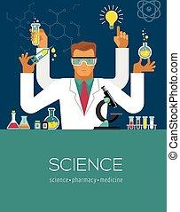 multitasking, vervaardiging, wetenschapper, onderzoek