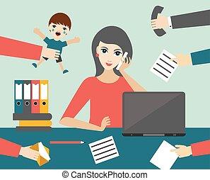 multitasking, vrouw, kantoor., werkende, vector., plat, ...