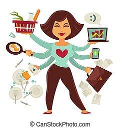 multitasking, weibliche , person, freigestellt, weiß,...