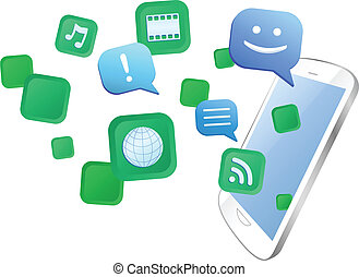 Multitasking with multimedia phone - Illustration of ...
