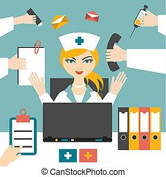Multitasking woman nurse hard working. Busy medical woman. ...
