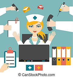 Multitasking woman nurse hard working. Busy medical woman....