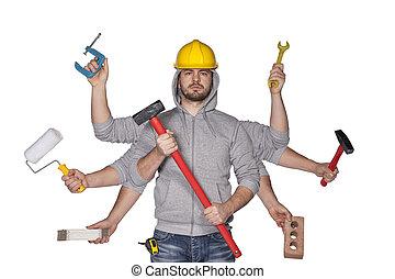 Multitasking worker with plenty of tools