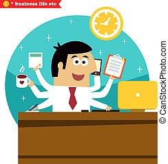multitasking, zakenman, veelzijdig