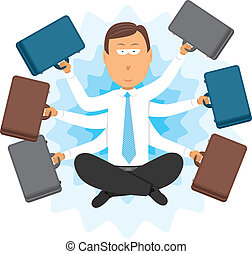 Multitasking zen businessman