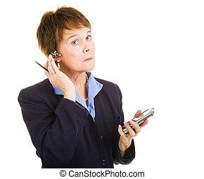 multitasks, femme affaires, mûrir