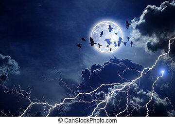 multitud, cuervos, cielo, tempestuoso