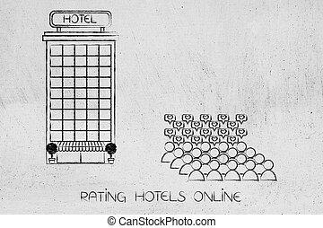 multitud, de, clientes, con, positivo, revisión, al lado de, hotel, edificio