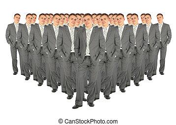 multitud, de, empresa / negocio, clones, collage