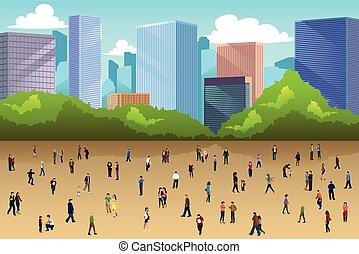 multitud, de, gente en a, parque, en la ciudad