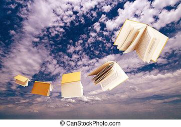 multitud, de, libros, vuelo, en, cielo azul, plano de fondo