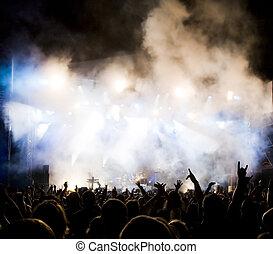 multitud, en, concierto