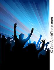 multitud, en, un, concierto