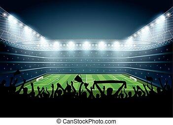 multitud, gente, fútbol, stadium., futbol, excitado