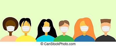 multitud, gente, máscaras, durante, pandemia, protector, ...