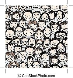 multitud, gente, patrón, seamless, diseño, su