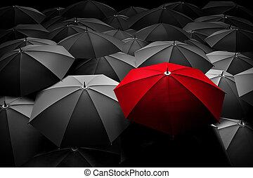 multitud., paraguas, diferente, estante, leader., rojo, ...