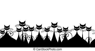multitud, patrón, gatos, seamless, negro, diseño, su