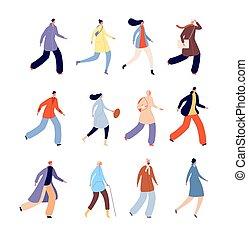 multitud, personas., conjunto, hombre de la persona, mujer, vector, urbano, macho, otoño, otoño, ropa, outerwear., plano, aislado, caracteres, vestido, estacional, tibio, caminata