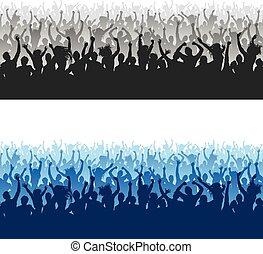 multitud, seamless, textura, alto, aplausos, siluetas, calidad