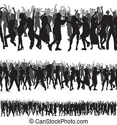 multitud, siluetas