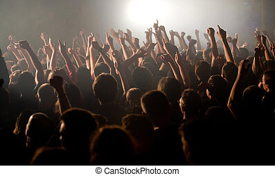 multitud, subidas, manos