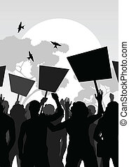 multitud, vector, plano de fondo, paisaje, protesters