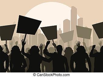 multitud, vector, protesters, plano de fondo