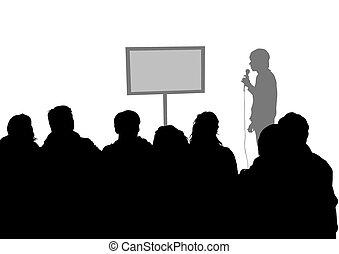 multitud, y, orador