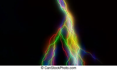 Multitude of colorful lightnings striking everywhere