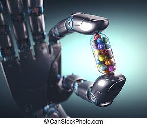 Multivitamin Pill Industry - 3D illustration. Robot hand ...