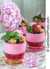Multivitamin summer berry delicious panacotta. -...