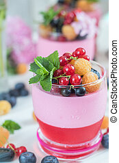 Multivitamin summer berry delicious panacotta. Sweet food...