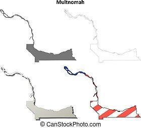 Portland oregon cityscape in map outline Portland oregon stock
