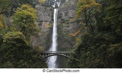 Multnomah Falls along Historic Columbia Highway 30 in Autumn Season in Portland Oregon 1080p