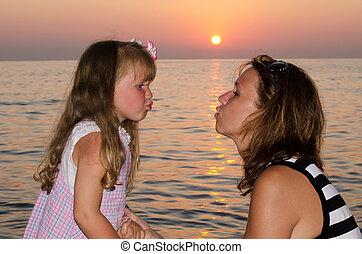 Mum a daughter against a decline