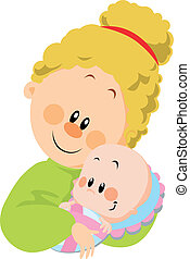 mum and baby on white background