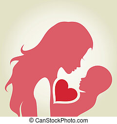 The woman loves the child. A vector illustration