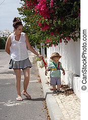 Mum and baby walking