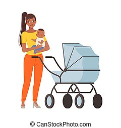 Mum and baby with pram character Illustration Vector