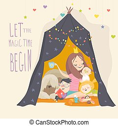 Mum and her kids playing in a tepee tent
