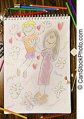 Mum and me. Child draw.