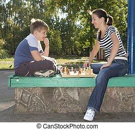 Mum and son chess