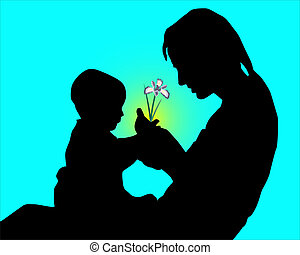 Silhouette of mother and the child with a flower in hands on a blue background