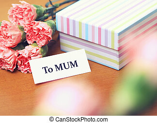 mum, dia, presente, mãe